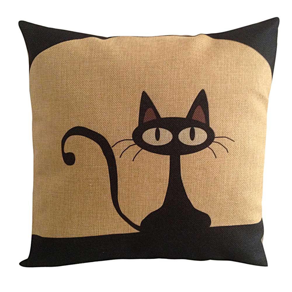 cute cat home cotton linen sofa cushion cover throw pillow c