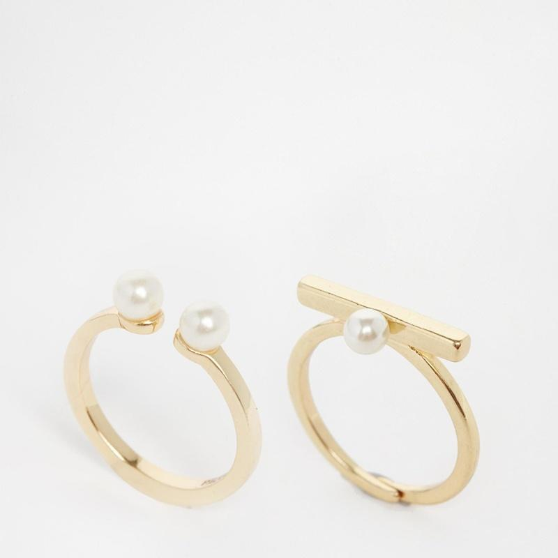 Набор жемчуг кольца для женщин золото / серебро покрытием кольца 2шт