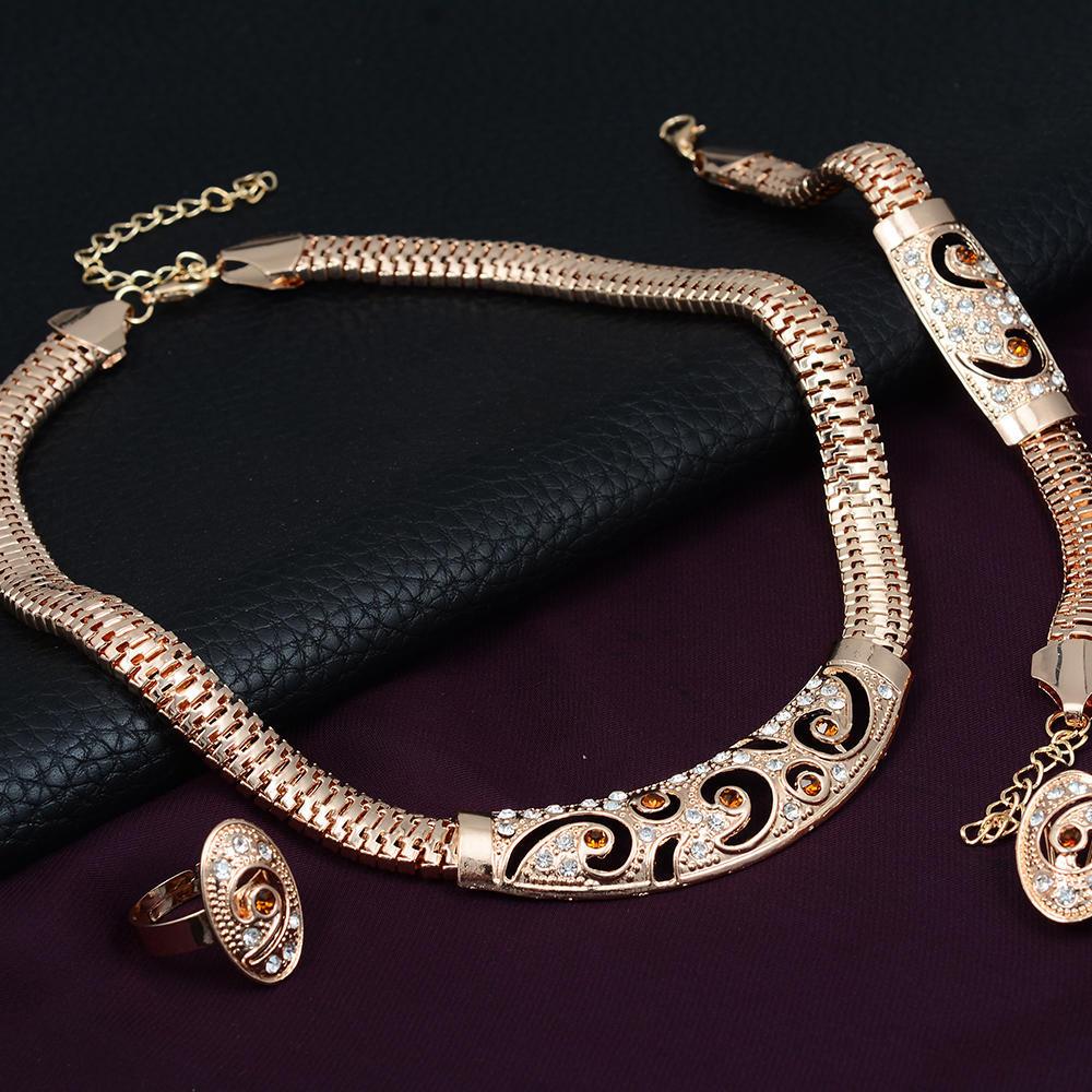 Свадебное золото покрытием ожерелье серьги браслет женщин комплект ювелирных изделий кольцо