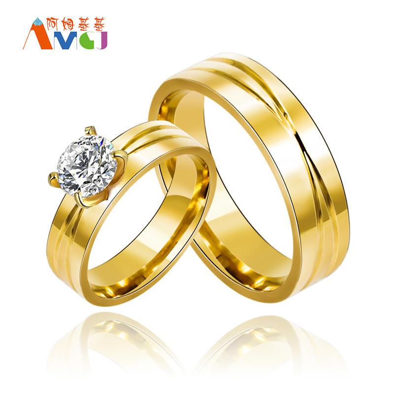 AMGJ горячие продажи цвет золота обручальные кольца шириной 6 мм из нержавеющей стали кольца для ...