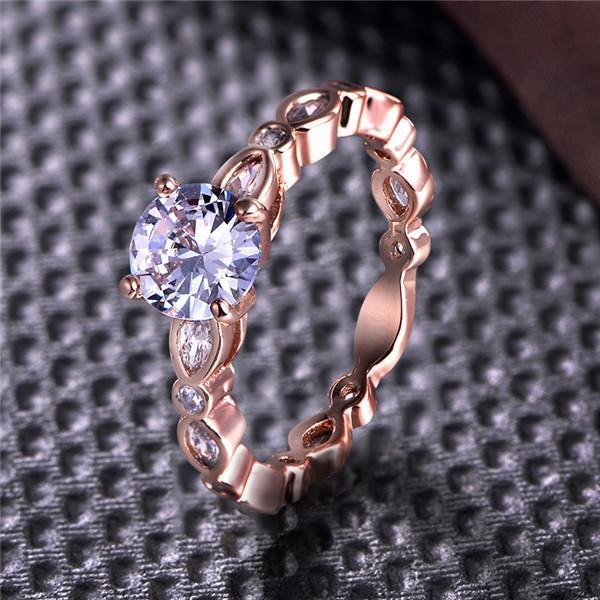 Дамы моды классические кристалл кольцо уникальный Роуз золотые обручальные кольца свадебный подарок