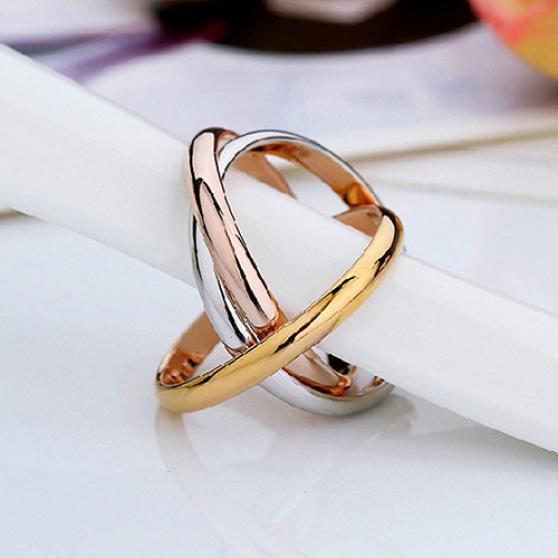 Женские Кольца золотые серебряные тона нержавеющей стали 3 различных цветов тонкая полоса