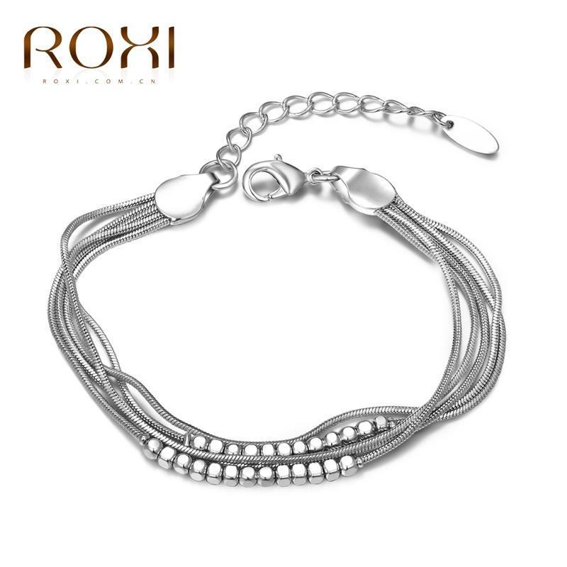 РОКСИ белого золота гальваническим Multi Layer цепи браслеты женщин