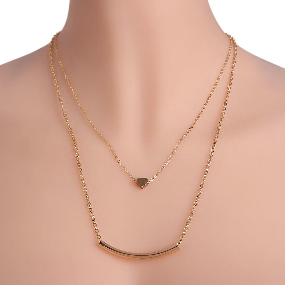Женщины цепи Колье золотые любовь сердца кулон ожерелье двойной слой
