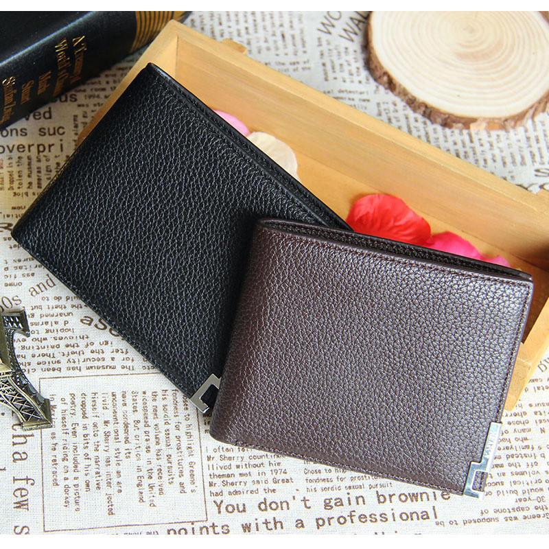 Новый бизнес мужчины двойные кожаный бумажник карты держатель кошелек портмоне новый новый