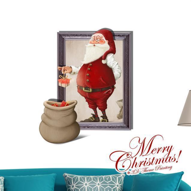 3D Рождество Санта Клаус подарки Паге стикер стены наклейки стикер дома стены декор футболка gotcha page 3 page 3