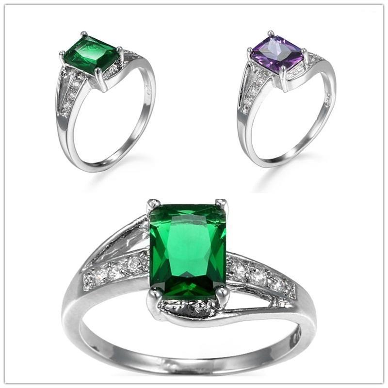 Площадь большой аметист Изумрудный кристалл Серебряное кольцо для женщин любителей обручальное ко...