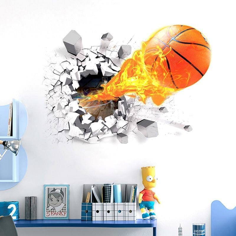 1 pcs 3d basketball wall sticker removable home decor kid