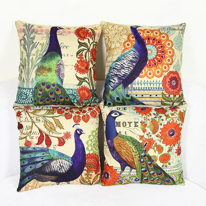 pillow case peahen printed cotton linen pillow cover cushion