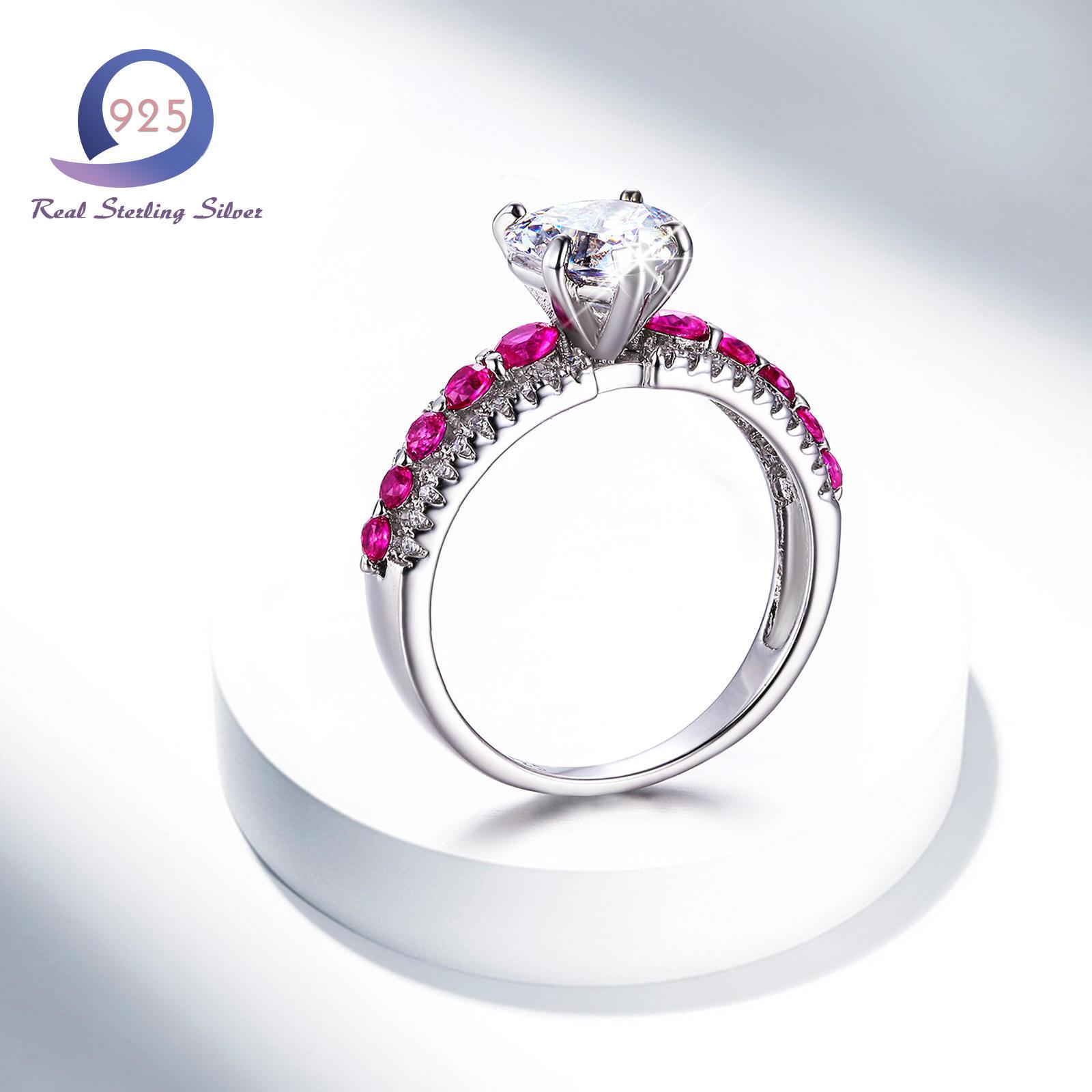 Merthus любовь сердца форма циркон чистом серебряное кольцо Обручальное кольцо партии украшения п...