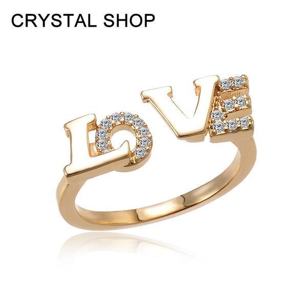 Элегантной моды 18K золотые кольца письмо любви Кубический циркон кристалл кольца регулируемый же...