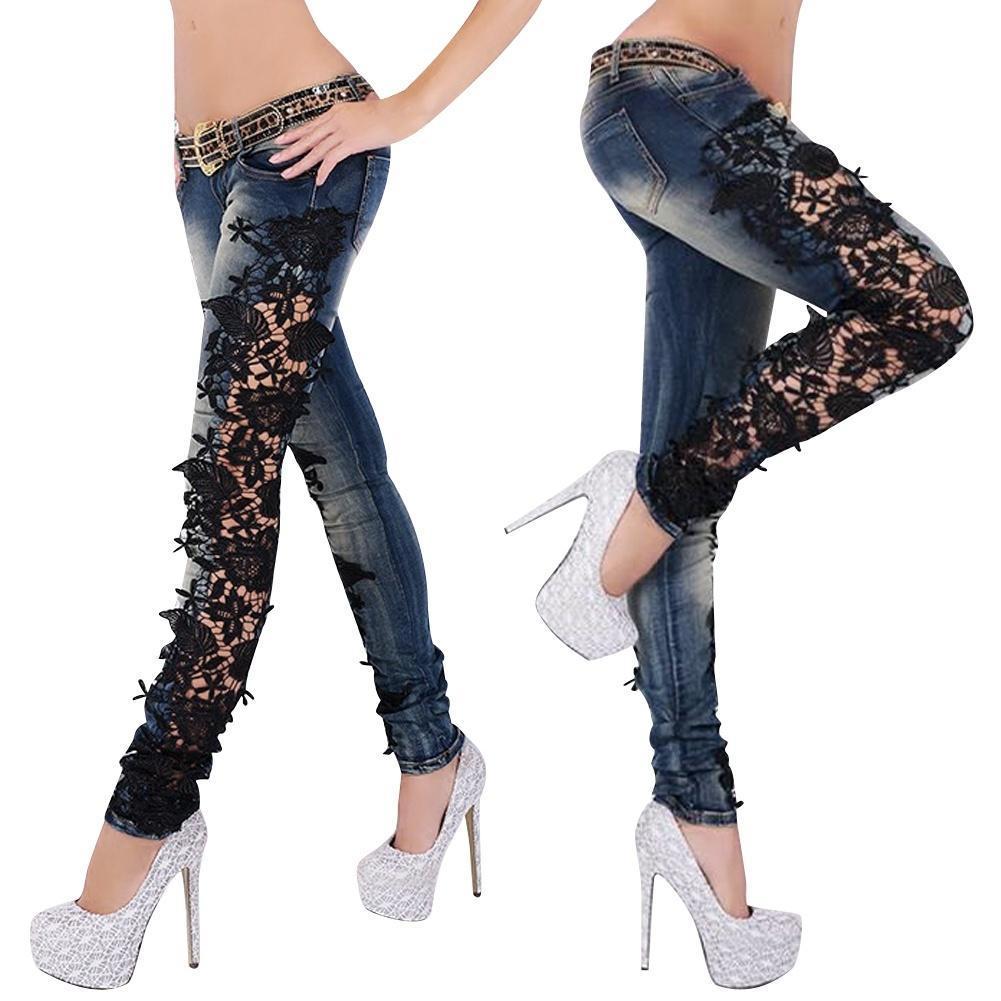 джинсы с кружевами доставка