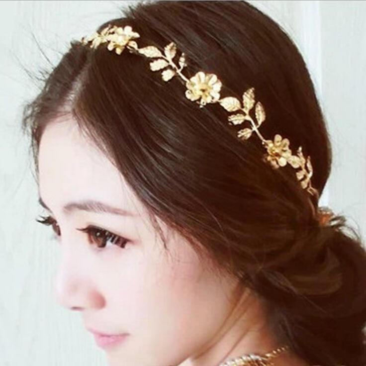 1 шт женщин золотые оливковые листья цветы заставку голову клип свадьбы