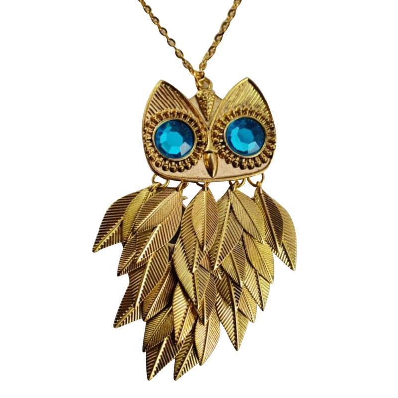 Модные стильные Золотые листья сова очарование цепи длинные женщины ожерелье