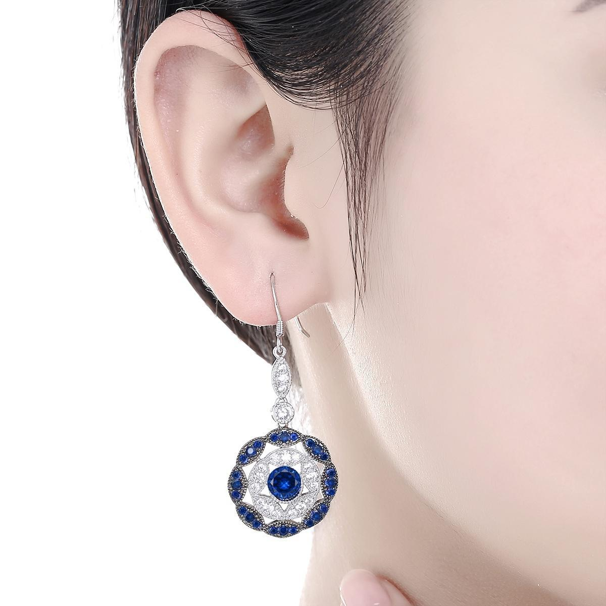 Известные марки Merthus Sweet моды женщин Свадебные ювелирные изделия Сапфир & белый топаз серебр...
