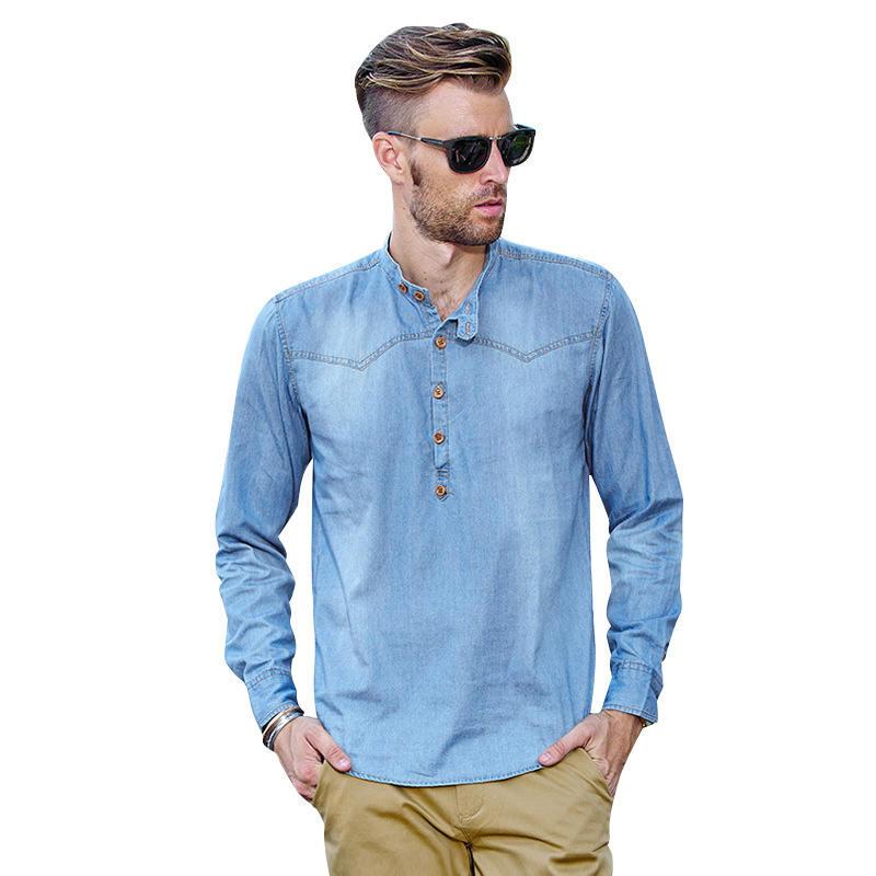 Ретро рубашки повседневные мужские Весна тонкий длинный рукав рубашки рубашки
