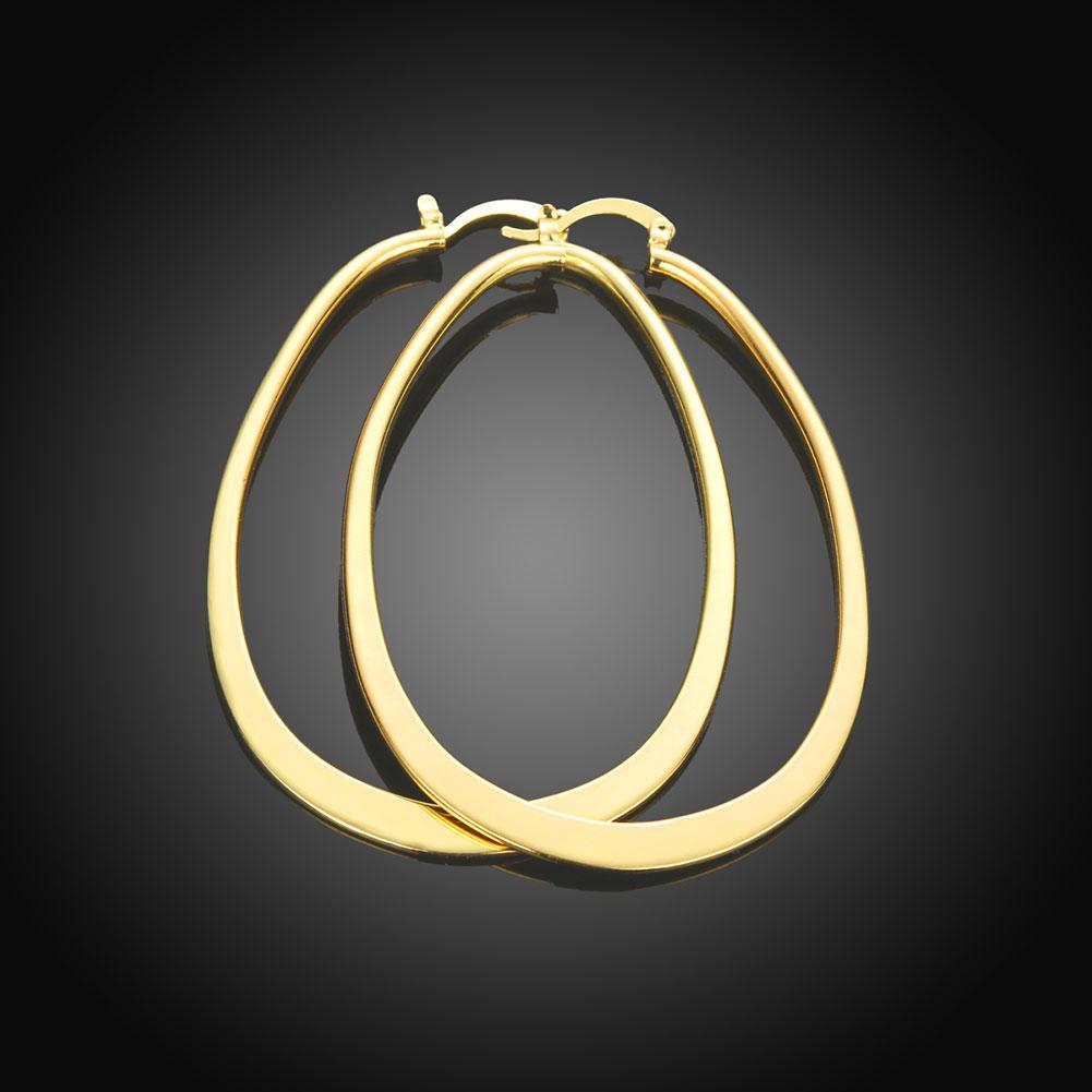 Элегантные золотые покрытием большие круглые серьги