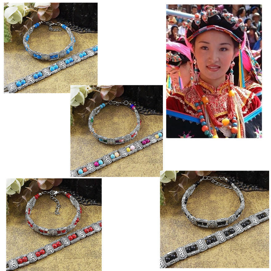 Новые прибытия женщины мужчины моды тибетские серебряные ювелирные изделия бисер браслет бирюзовы...