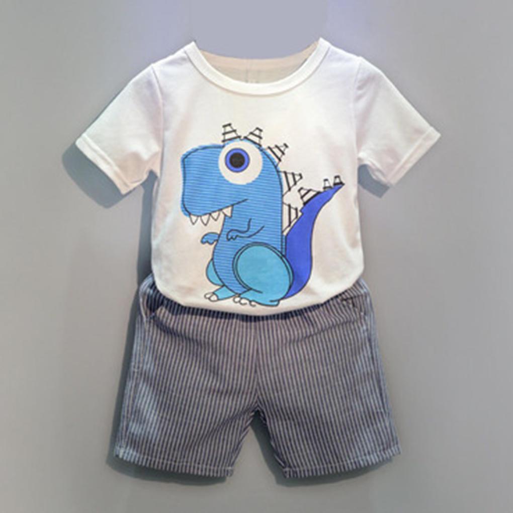 Дети мальчики летние костюмы костюмы шорты Футболки хлопок милый маленький динозавр стиль костюмы