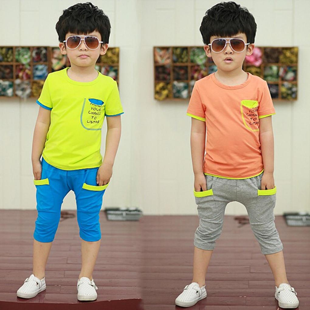 Корейский стиль унисекс летние костюмы футболки брюки контраст цвета дети костюмы костюмы