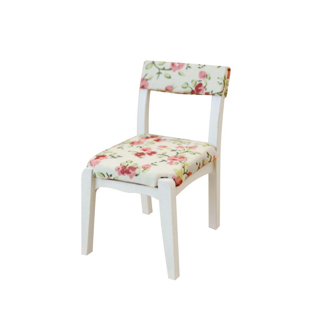 MagiDeal Dollhouse миниатюрная мебель Белый деревянные цветочные мягкая мебель, Обеденный стул ст... мягкая мебель идель где в мурманске