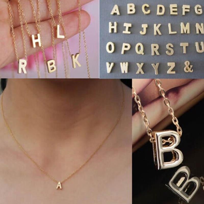 Женщины подарок золотой пластине буквы имя начальной цепочки ожерелье моды