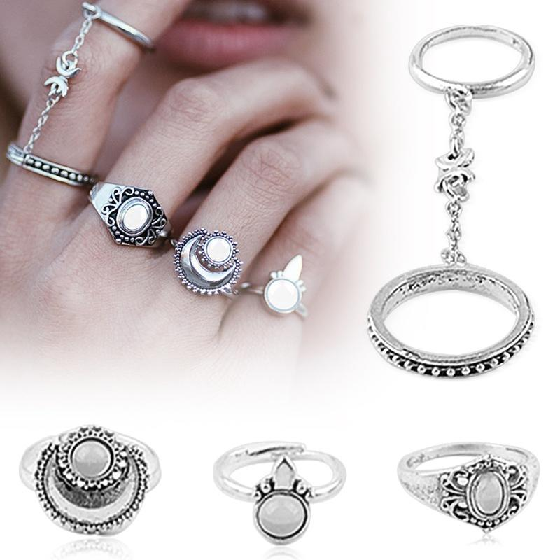 5pcs женские стека кулака Midi палец наконечник кольца набор кольцо женские кольца jv женское серебряное кольцо с куб циркониями f 642r 001 wg 17 5