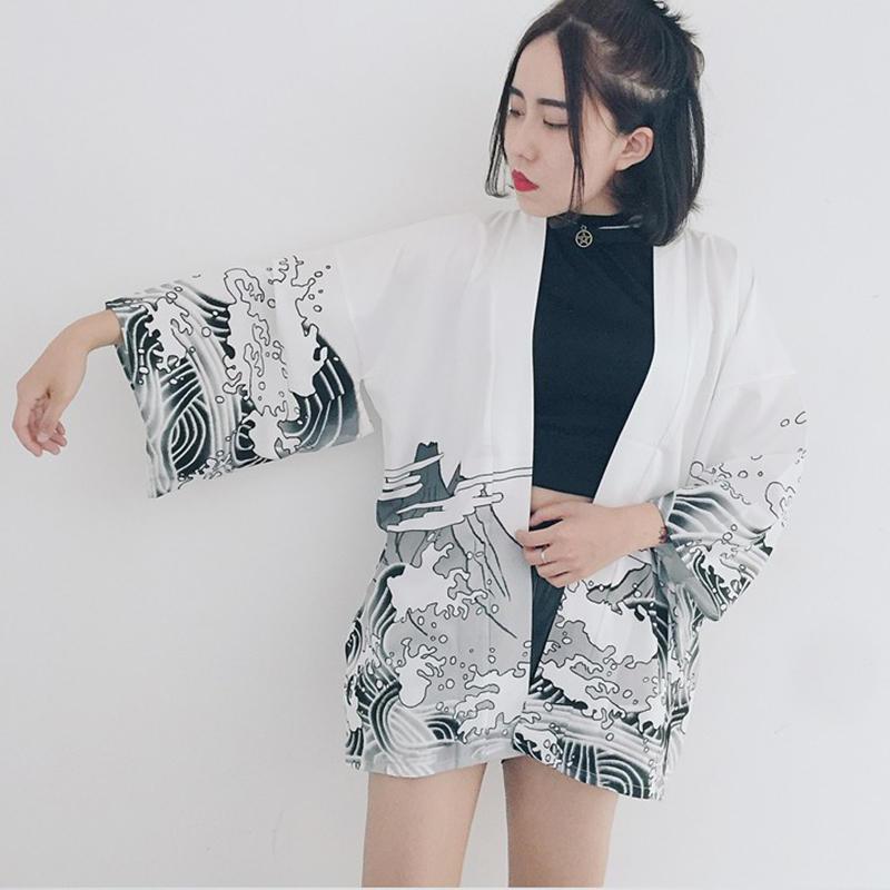 Дракон летние волны печатных шифона солнца защиты кимоно ВС рубашка женская Одежда верхняя одежда женская одежда