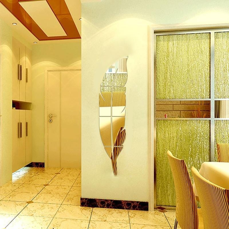 Скидка! продажа! перо зеркало стены стикер Термоаппликации Mural декор стены искусства скидка