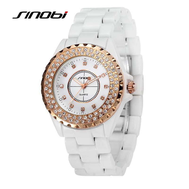 SINOBI роскошный бренд женщин платье полной стали кварцевые часы алмазов часы золотые женские часы