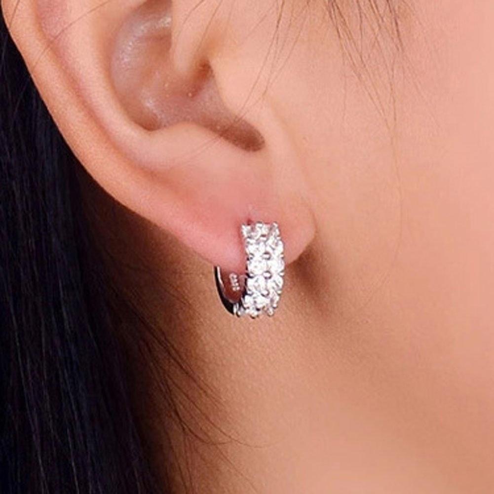 Новый 925 серебро столовое серебро двойной алмазов шпильки серьги женские корейских моды стиль