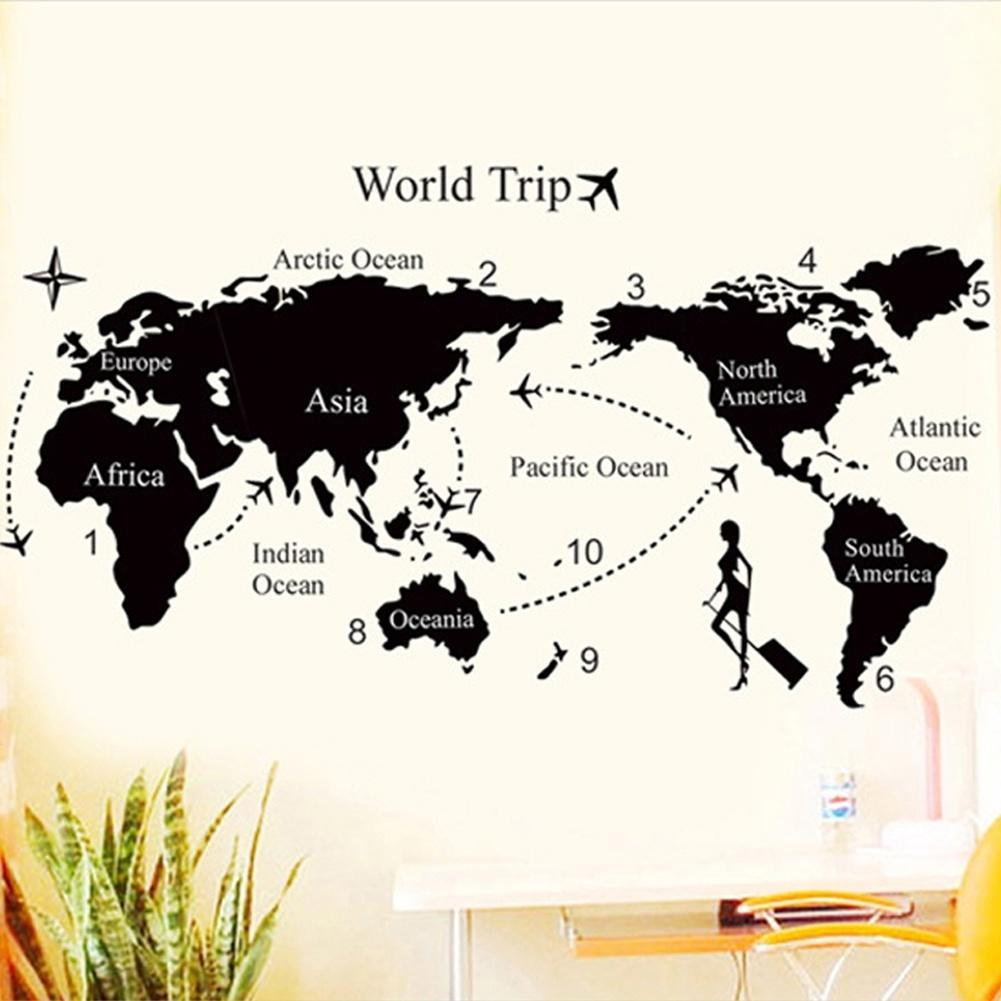 new style world map removable pvc vinyl art wall sticker roo