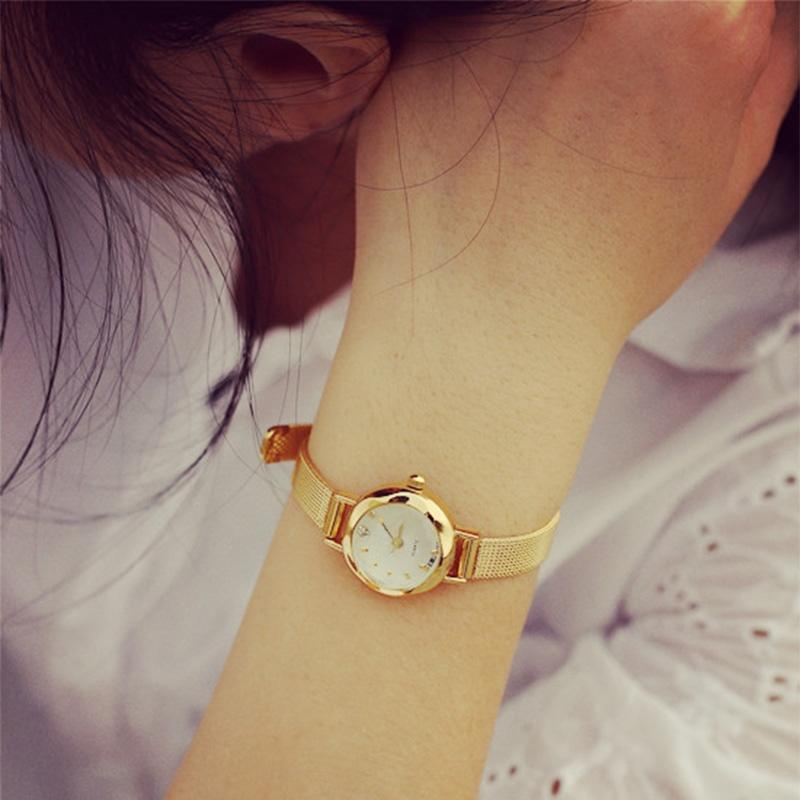 Мода женский Золотой небольшой круглый Леди Браслет Dial кварцевые аналоговые наручные часы