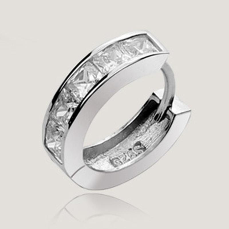 Простой и элегантный четыре алмазы имитация Серьги серебряные пряжки флэш-мужские серьги