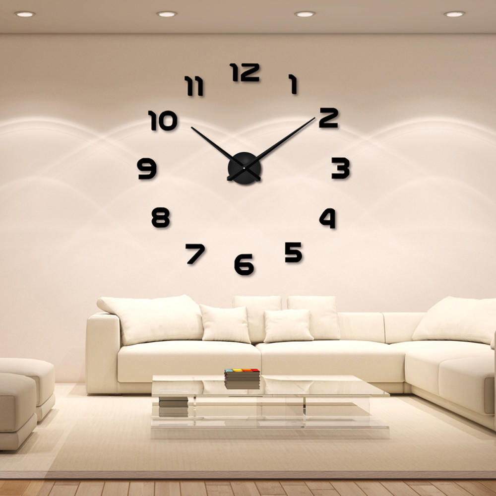 fashion diy large 3d number mirror wall sticker big watch ho