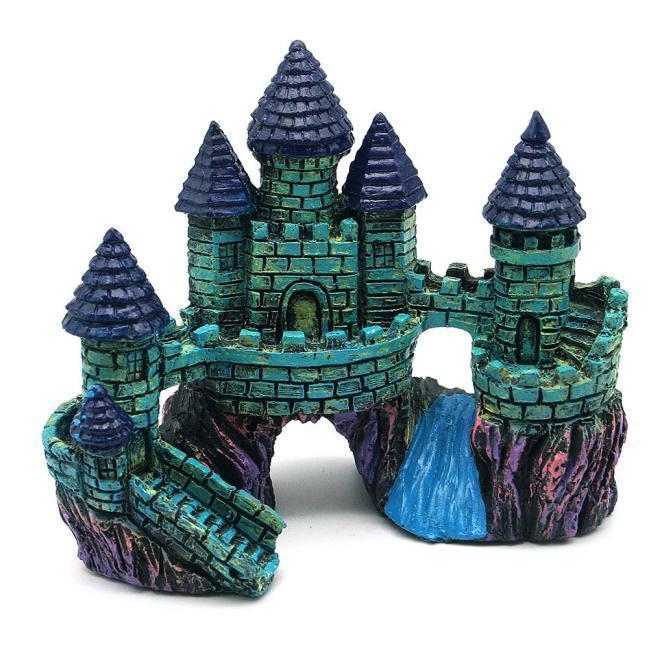 Мультфильм смолы замок башня аквариумы замок украшения аквариума бак рыб
