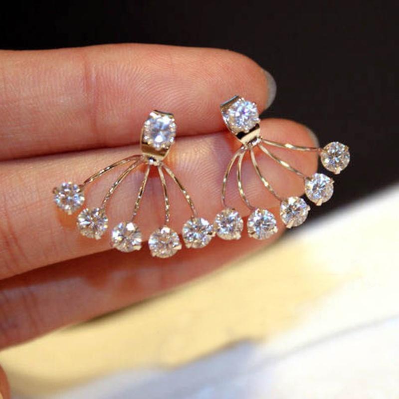 1 пара Корея моды женщин элегантный золото покрытием цветок тычинка форме блестящей кристалл Rhin...