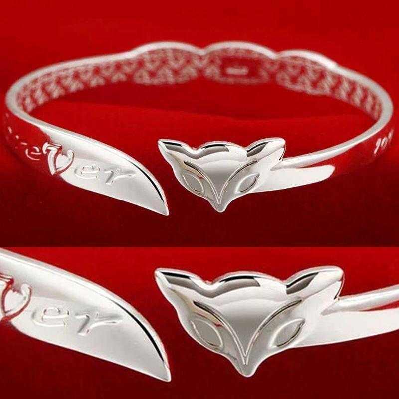 Шикарные Оптовая серебро украшения подарок Леди Шарм мило лиса Браслеты Браслеты