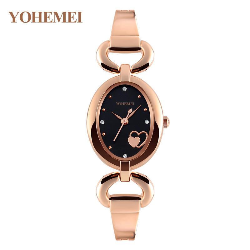 YOHEMEI 0162 часы для женские кварцевые часы овальной Dial браслет случайные золотые женские часы...