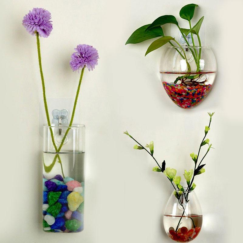 Гидропонное растений цветок Clear контейнера висит Ваза дом декор стен стекла декор для стен