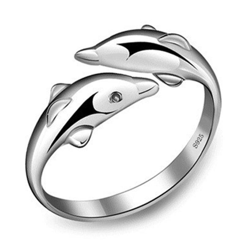 Дельфины женщины формы серебра покрытием открытого кольца