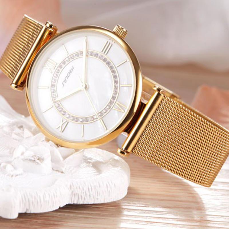 Часы Женские золотые часы Топ бренда SINOBI моды роскоши Дамы Diamond смотреть женские часы
