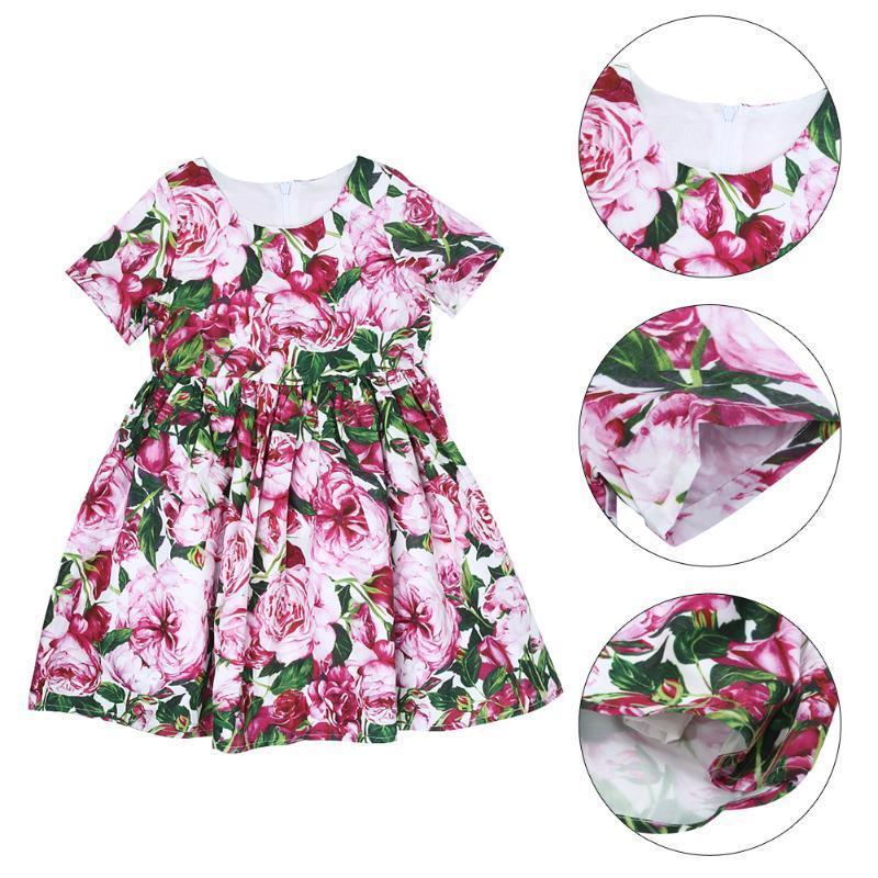 Цветочные платья печати принцесса ребенка девочек цветочные ремень платье платья для девочек