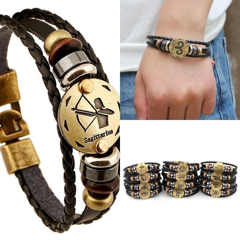 1 шт двенадцать 12 созвездий зодиака знаки кожа сплава браслет подарок ювелирные изделия