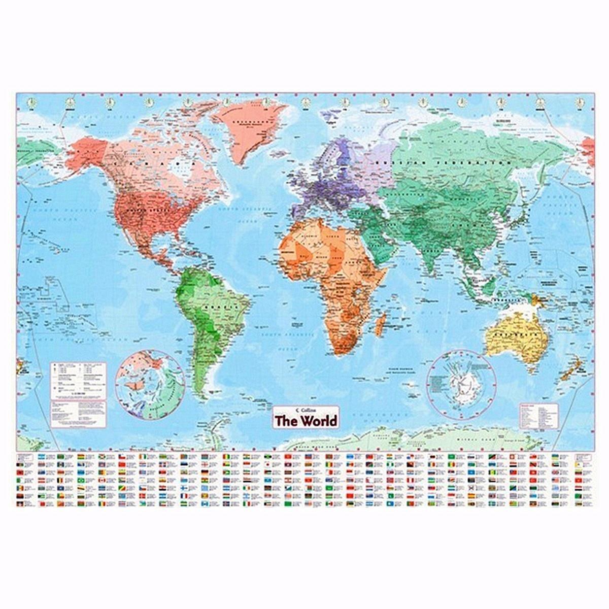 Новый высокое качество мира карта настенная карта мира наметить политические флаги плакат дома Ар... казань настенная карта