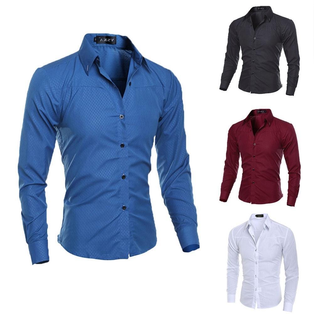 Новая мода Мужская тонкий Fit рубашки с длинным рукавом рубашки повседневные рубашки