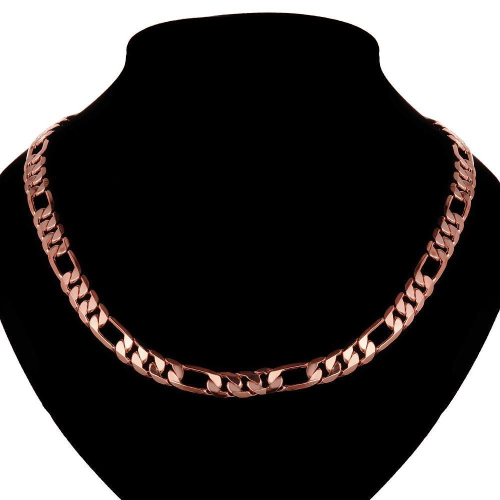 Фигаро цепи мужчин ожерелья розовое золото покрытием кубинского золота снаряженная цепь из нержав...