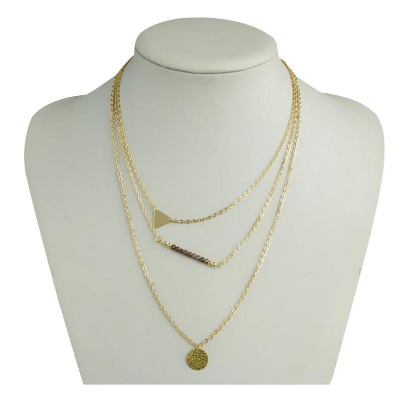 Женщины тонкие геометрии подвески 3 слои золотые цепочки треугольник бисером ожерелье