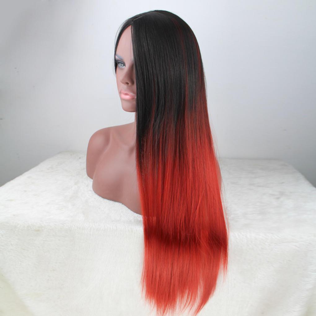 Женщины градиента длинный прямой синтетический парик не бахрома для Cosplay костюм платье аксессуары для косплея neko cosplay