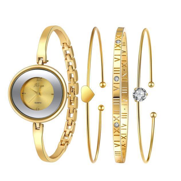 Золотой горный хрусталь браслет часы и браслет набор 587 моды